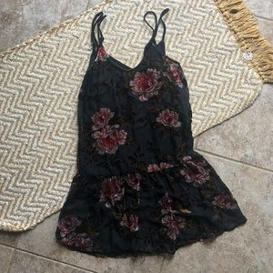 Velvet floral mini dress American Eagle size XXS